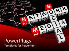 PowerPlugs: PowerPoint template with social media network words crosswords on white and red 3D blocks