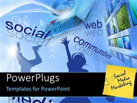 PowerPlugs: PowerPoint template with social media networks - Global and Communication concept