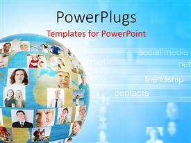 PowerPlugs: PowerPoint template with an earth globe showing different pictures of lots of people