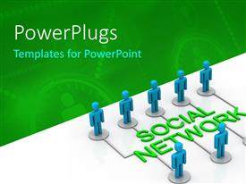 PowerPlugs: PowerPoint template with nine blue colored 3D characters standing round text that spell out the words 'social network'