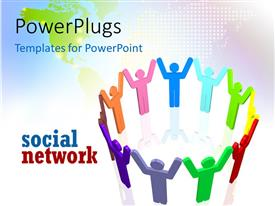 PowerPlugs: PowerPoint template with social network depiction with colored 3D people holding hands in circle