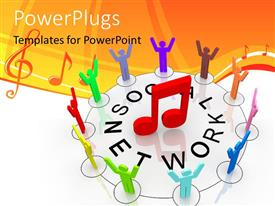PowerPlugs: PowerPoint template with social network depiction with people forming circle around 3D music symbol