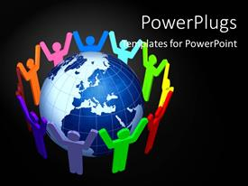 PowerPlugs: PowerPoint template with social network depiction with people holding hands around earth globe