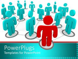 PowerPlugs: PowerPoint template with social network networking metaphor with aqua people connected to red person