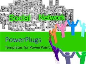 PowerPlugs: PowerPoint template with some multicolored 3D characters standing in a circle with their hands together