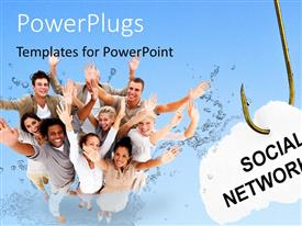 PowerPlugs: PowerPoint template with social networking sign hangs on fishing hook with people waving