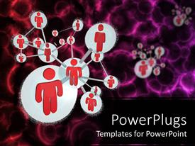 PowerPlugs: PowerPoint template with social networking model with red people connected to form a molecule