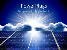 PowerPlugs: PowerPoint template with solar energy panels with beautiful sky in the background