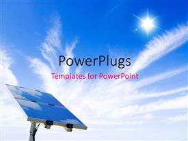 PowerPlugs: PowerPoint template with a solar panel on a blue sky with sun shining bright