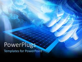 PowerPoint template displaying solar panel on a hi-tech background with LED bulb in background