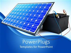 PowerPlugs: PowerPoint template with solar pannel is charging the battery on white background