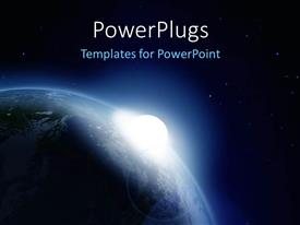 PowerPlugs: PowerPoint template with solar system depiction with sun glowing over earth globe