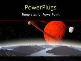 PowerPlugs: PowerPoint template with solar system with orbiting planetary bodies in space
