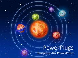 PowerPlugs: PowerPoint template with solar system with sun in the center and six planets around it on a starry sky galaxy background