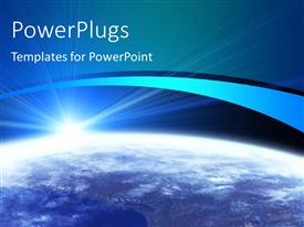 PowerPlugs: PowerPoint template with solar system with sun shining on surface of planet earth