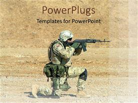 PowerPoint template displaying soldier with a gun, positioning and aiming in a desert