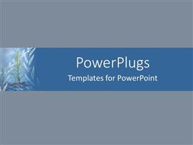 PowerPlugs: PowerPoint template with solid blue background with bar showing growing tree