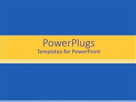 PowerPlugs: PowerPoint template with solid blue background with yellow banner and gradient stripes