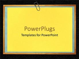 PowerPoint template displaying solid blue colored plane paper board with a paper clip