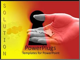 PowerPlugs: PowerPoint template with solution word and hand holding a key in front of keyhole