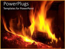 PowerPoint template displaying something is burning in the fire with balck background