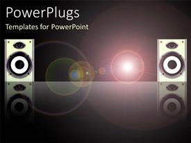 PowerPlugs: PowerPoint template with sound system with two large disco speakers with light circles on black background