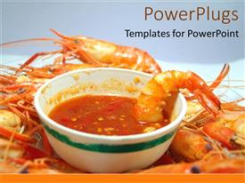 PowerPlugs: PowerPoint template with a soup in a bowl with prone in the background