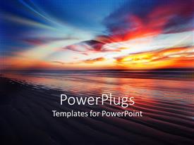 PowerPoint template displaying south African beach landscape with sky at sunset