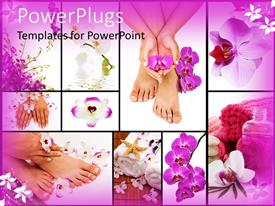 PowerPoint template displaying spa collage with purple orchids, manicures, pedicures and aromatherapy