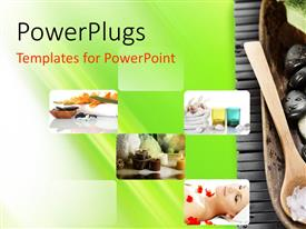 PowerPlugs: PowerPoint template with collage of spa collection on green background with spa stones and towel