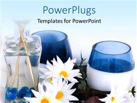 PowerPlugs: PowerPoint template with spa depiction with flowers and spa oil in bottle