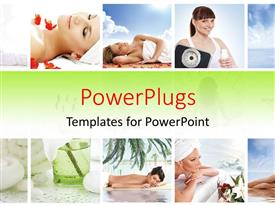 PowerPlugs: PowerPoint template with lots of tiles showing ladies practicing yoga and enjoying a spa treatment.