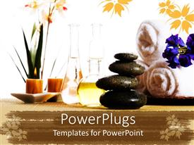 PowerPlugs: PowerPoint template with spa products with stones towels flasks and oil