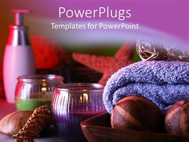 PowerPoint template displaying spa set with moisturizer, lit votive candles, seashells, starfish, and lavendar towel