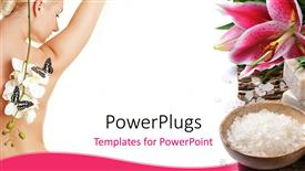 PowerPoint template displaying beautiful lady having spa treatment with lily flower and spa supplies