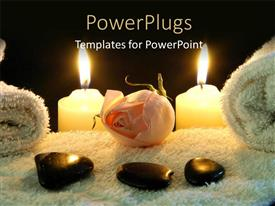 PowerPlugs: PowerPoint template with spa table with stones on white towel and two lighted candles