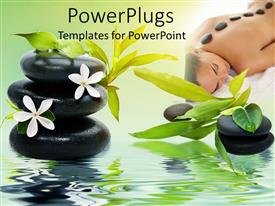 PowerPoint template displaying spa theme with black relaxing spa stones white flowers and green bamboo leaves, woman laying on a soft spa bed with stones on her back