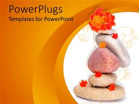 PowerPlugs: PowerPoint template with spa theme with various zen stones and little orange flowers on white and orange background