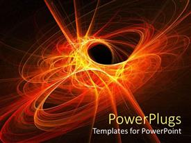 PowerPlugs: PowerPoint template with space flame rays circle on dark background