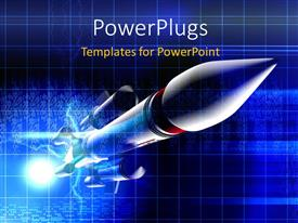 PowerPlugs: PowerPoint template with a space rocket with bluish background
