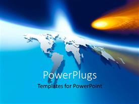 PowerPlugs: PowerPoint template with space View - 3D Map of the World with a fireball