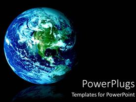 PowerPlugs: PowerPoint template with space view of blue and green world as a globe on a background