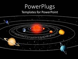 PowerPoint template displaying a space view of the sun and planets of their orbits