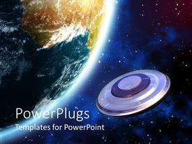 PowerPoint template displaying spaceship orbiting Planet Earth in space, UFO near Earth unidentified flying object flying in space closing to Earth