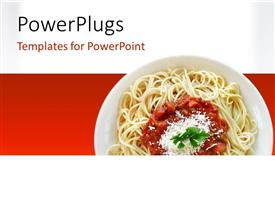 PowerPlugs: PowerPoint template with spaghetti with tomato sauce