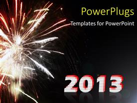 PowerPoint template displaying a sparking firework with a text that spells out the word
