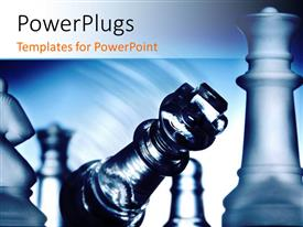PowerPlugs: PowerPoint template with sparkling king chess piece falling over other chess pieces