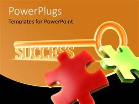 PowerPlugs: PowerPoint template with sparkling success key with colored jigsaw puzzle pieces on orange background
