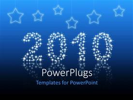 PowerPoint template displaying sparkling year 2010, with stars