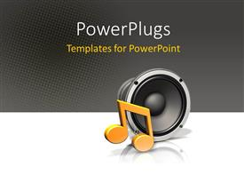 PowerPlugs: PowerPoint template with a speaker and a musical note on a black and white background
